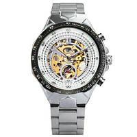 Шикарные мужские механические часы-скелетон Winner серебристые с автоподзаводом