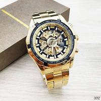 Шикарные мужские механические часы-скелетон Forsining  золотистые с черным