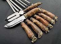 """Набор шампуров ручной работы с шашлычной вилкой и красивым ножом """"Подарок егерю"""" в колчане из кожи"""