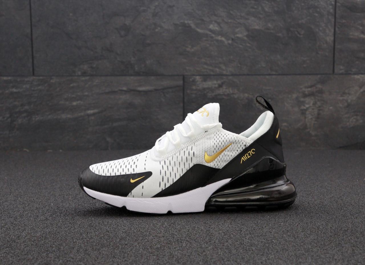 Мужские кроссовки Найк Nike Air Max 270. White Black. ТОП Реплика ААА класса.
