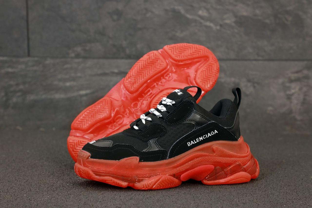 Женские кроссовки Balenciaga Triple S. Black Red многослойная подошва . ТОП Реплика ААА класса.