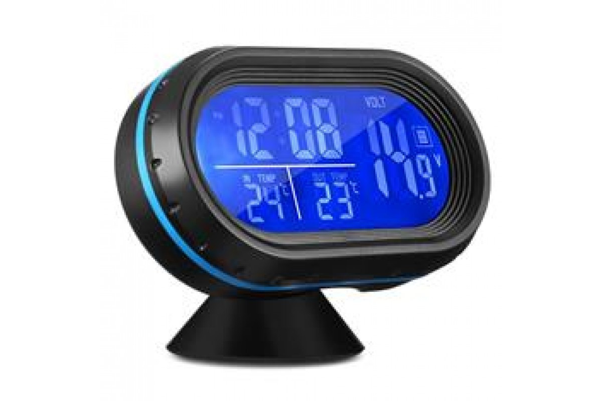 Часы автомобильные VST 7009V вольтметр