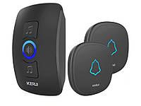 Беспроводный дверной звонок Kerul M 525 1 ресивер 2 звонка Черный