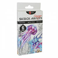 Набор маркеров SANTI sketch Seascape, 6 шт/уп. 390567