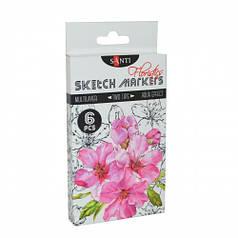 Набор маркеров SANTI sketch Floristics, 6 шт/уп. 390569