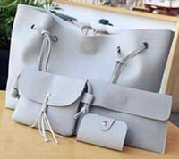 Женская сумка LADY BAG 2B, 4 в 1, сумка-баула/клатч/сумочка/визитница, цвет серый, сумка из эко кожи, набор сумок