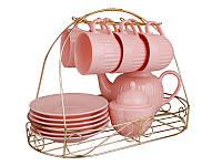"""Чайный набор """"Ажур"""" 14 предметов на металической подставке 250  мл розовый 250  мл"""