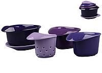 """Чайный набор """"Для завтрака"""" с фильтром на подставке 5 предметов 180  мл 250  мл 350  мл синый"""