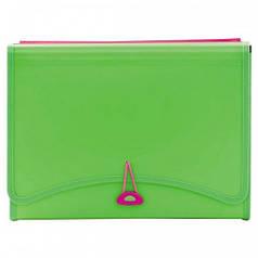 Папка с файлами 13отд.+2 кармана L6142 (260х138мм) неоновый зеленый 490956