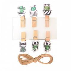 Набор прищепок деревянных Santi декоративных Fashion cacti, 3.5 см, 6 шт./уп. 742497