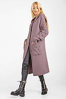 Кардиган-пальто вязаный женский с капюшоном «Тизана» (Хаки, пепельно-розовый | 42-44, 44-46, 46-48, 48-50)