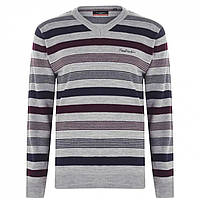 Джемпер Pierre Cardin Mix Stripe Knit Grey M/Burgundy - Оригінал