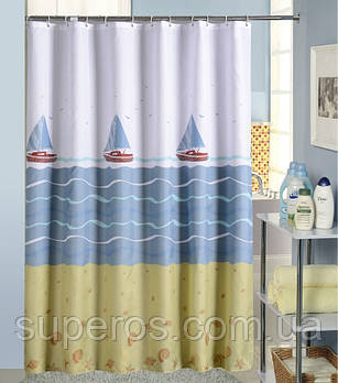 Тканевая шторка для ванной 180х200 см Парусники