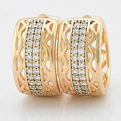 Серьги кольца Xuping Jewelry Илона медицинское золото, позолота 18К А/В 4862