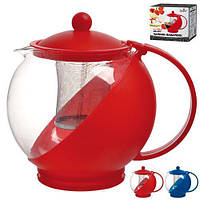 Заварник стеклянный Stenson MS-0117, два цвета (красный,синий), 1250 мл, Стеклянные заварники, Посуда для чая и кофе, Чайник, Чайник заварник