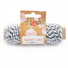 Шнур двухцветный декоративный, цвет бело-черный, 27 м. 741597