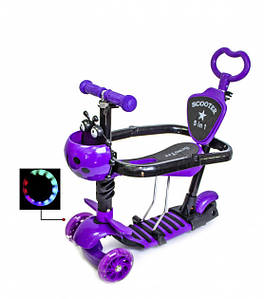 Самокат с родительской ручкой и сидением i-Trike 5в1 с поясом безопасности (фиолетовый)