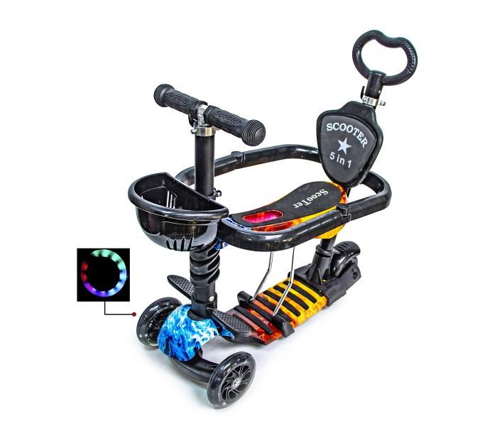 Самокат с родительской ручкой и сидением i-Trike 5в1 с поясом безопасности (огонь-вода)