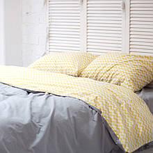 Комплект постельного белья Хлопковые Традиции Полуторный 155x215 Серый с желтым (PF056_полуторный)