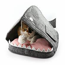 Домик для животных Digitalwool с подушкой и бубоном Рыба-кит Серый (DW-91-14)