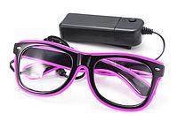 Очки светодиодные прозрачные El Neon ray неоновые Purple (902416320)