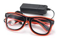 Очки светодиодные прозрачные El Neon неоновые ray Red (902434464)