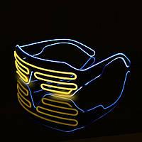 Очки светодиодные El Neon неоновые spiral Yellow ice Blue (902883024)