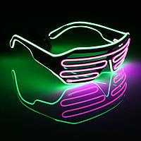 Очки светодиодные El Neon неоновые fluorescent green Purple (902906646)