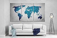 Модульная картина на холсте ProfART XL23 167 x 99 см Карта Мира (hub_fNnm12626)