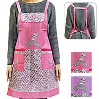 """Передник тканевый с карманом """"Хозяюшка"""" размер 71,5х78см, розовый/сиреневый, фартук, прикольные фартуки, оригинальные подарки, передник"""