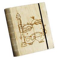 Блокнот Ben Wooden из дерева ручной работы А6 90 листов Миньоны (BW01232)