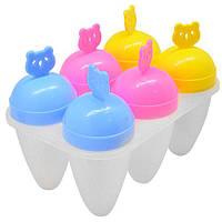 """Формы для мороженого Stenson """"Медведь"""" в наборе 6шт, пластик, 12см, набор для мороженного, кондитерский инвентарь, кондитерский инструмент"""