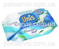 Влажные салфетки ТМ Unis 120шт. с клапаном, с экстрактом ромашки 1/12
