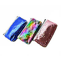 """Школьный детский пенал - косметичка """"Pencil case"""" с паетками, размер 18,5х3х10см, разные цвета, пенал школьный, пенал для школы"""