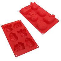 Форма для выпечки кексов Новогодняя силиконовая, на листе 6шт, размер 29,5х17х5см, красная, силиконовые формы для выпечки
