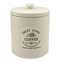 "Банка для кофе Stenson ""Прованс"" объем 850мл, размер 11,5х11.5х15,5см, белая, овальная, фарфор, Банки для хранения"