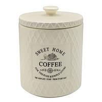 "Банка для кофе Stenson ""Кантри"" объем 850мл, размер 11,5х11,5х15,5см, белая, овальная, фарфор, Банки для хранения"