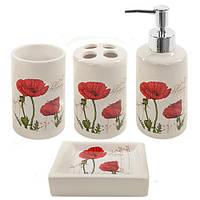 """Набор для ванной Stenson """"Маки"""" из 4 предметов, белый с принтом, керамика, ванные принадлежности, набор в ванну, набор для ванны"""