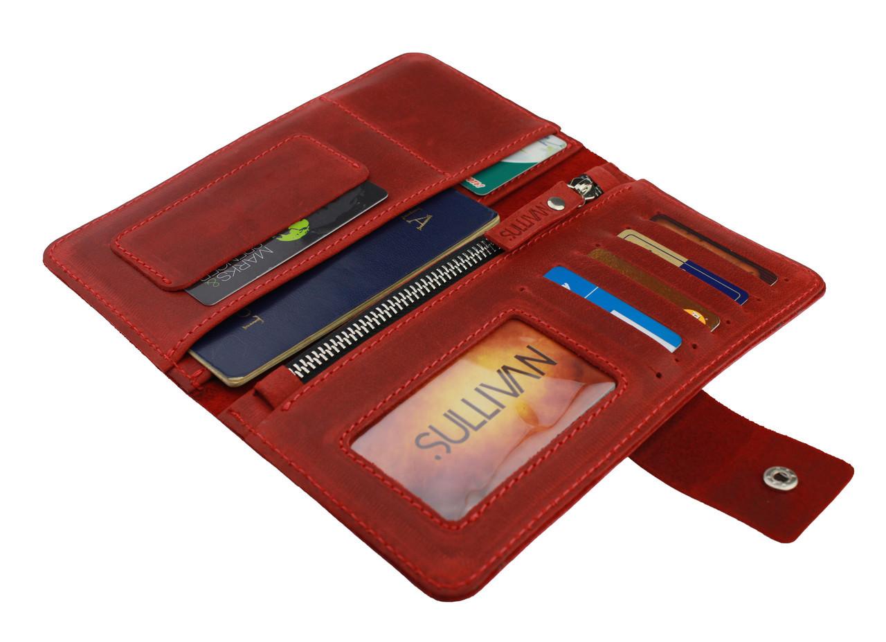 Кошелек женский кожаный под паспорт SULLIVAN kgb47(10) красный