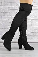 Женские ботфорты Taffy черные на каблуке 1457
