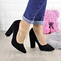 Туфли женские на каблуке черные Hussy 1446