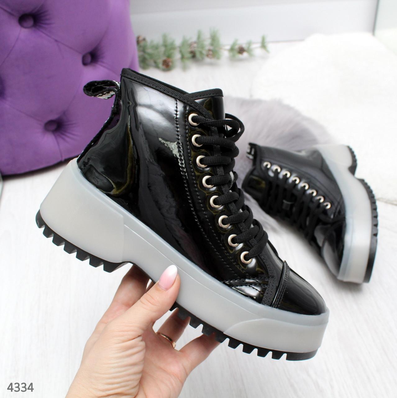 Ботинки женские демисезонные черные на толстой подошве