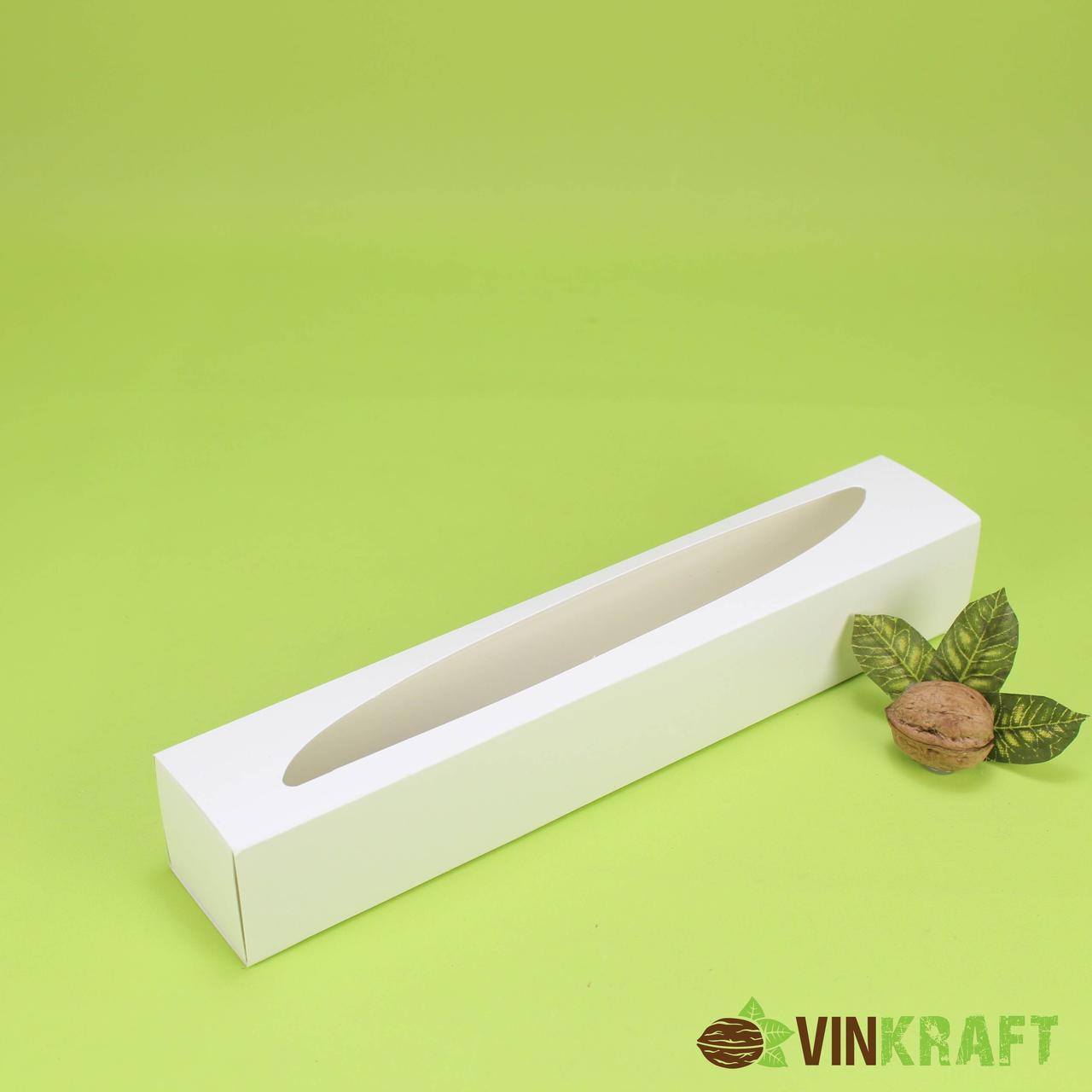 Коробка 290*50*45 для макарун (10 шт) з вікном, біла