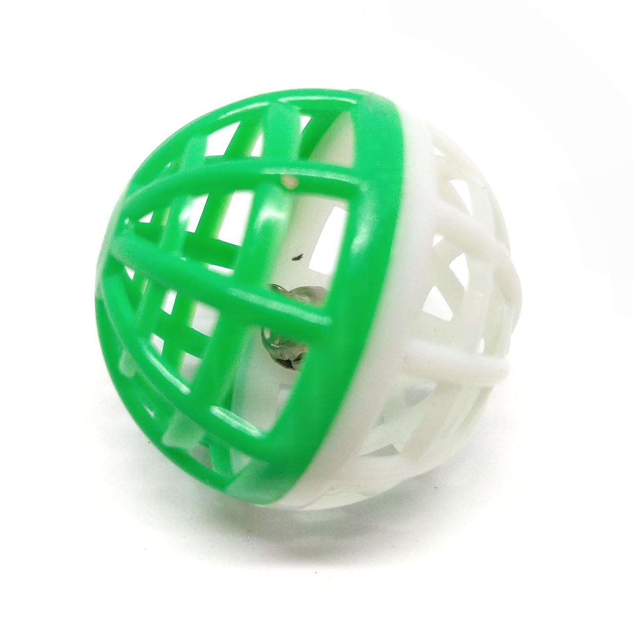 Игрушка для кошек Мячик-погремушка Zizi бело-зелёный 4 см