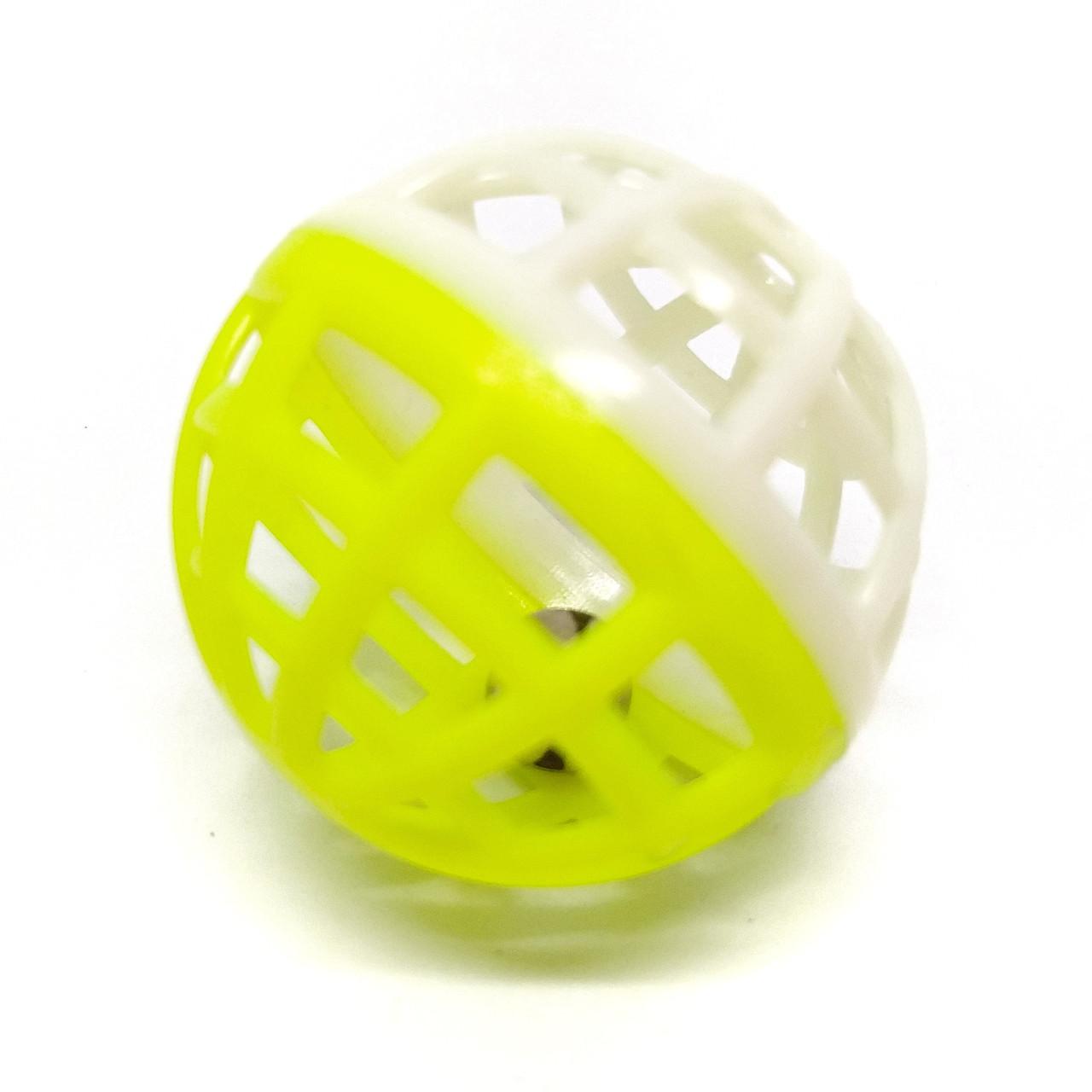 Игрушка для кошек Мячик-погремушка Zizi бело-жёлтый 4 см