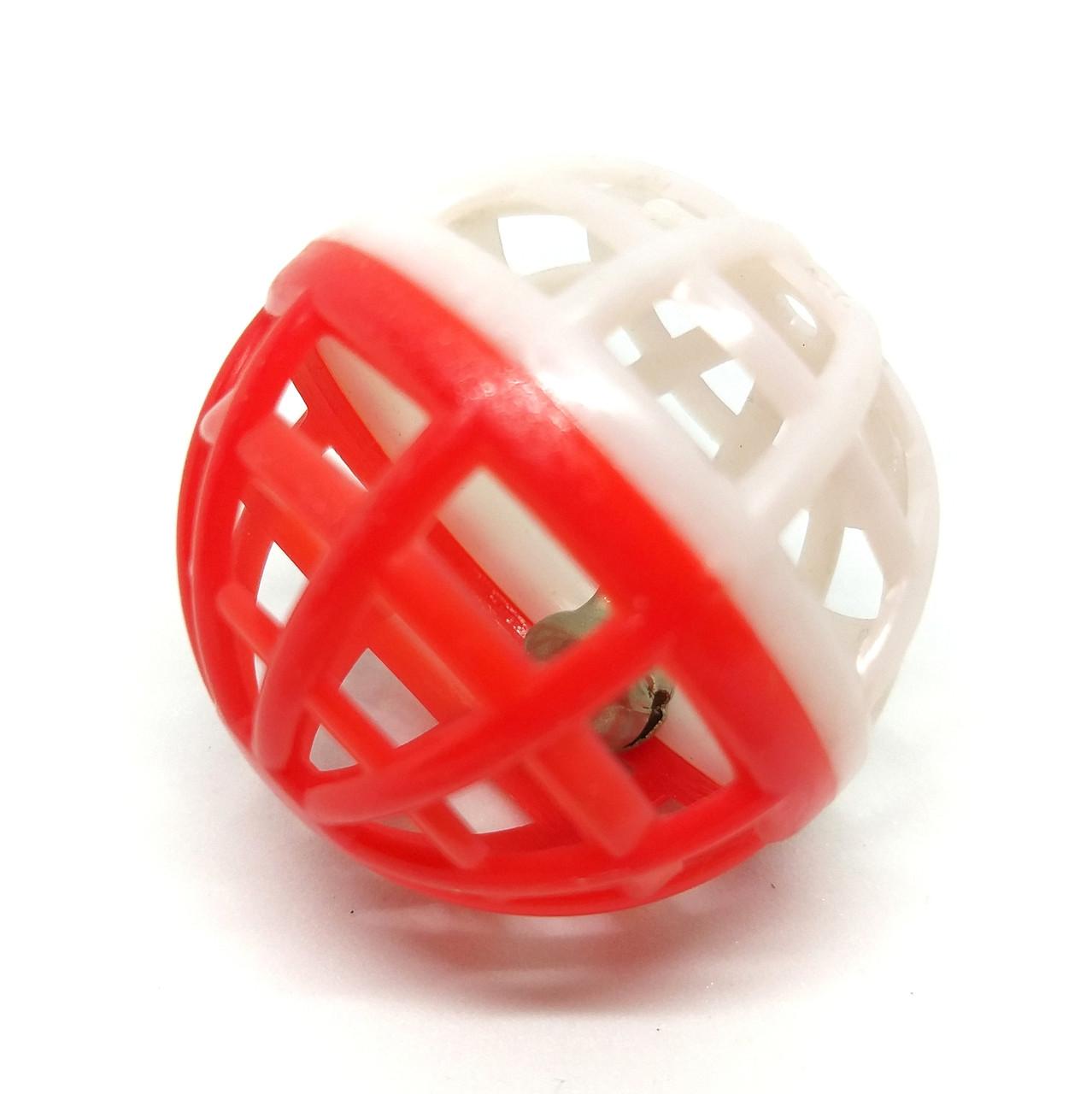 Іграшка для котів М'ячик-брязкальце Zizi біло-червоний 4 см