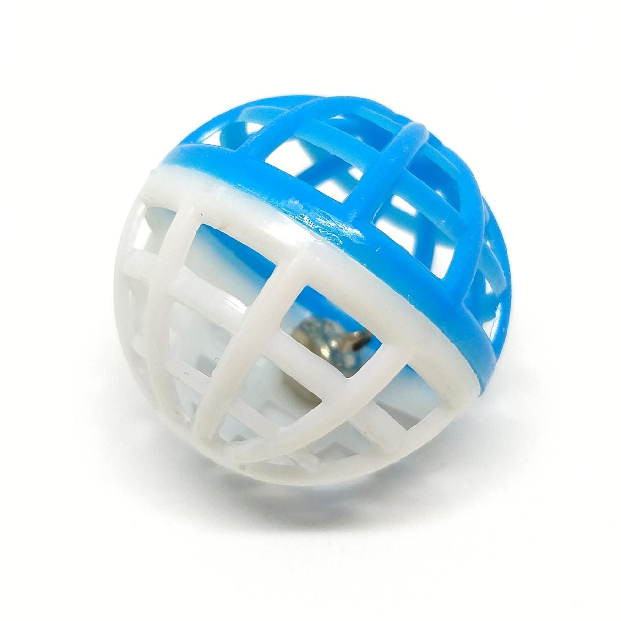 Іграшка для котів М'ячик-брязкальце Zizi біло-синій 4 см