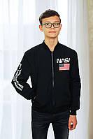 Детская подростковая весенняя куртка на мальчика «NASA», черная