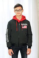 Куртка подростковая на мальчика «NASA», хаки