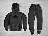 Мужской спортивный костюм Adidas темно серый , толстовка большая черная эмблема, штаны реплика